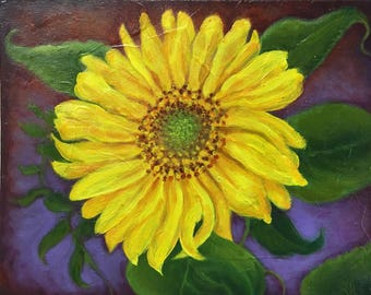Framed Oil Painting of Sunflower
