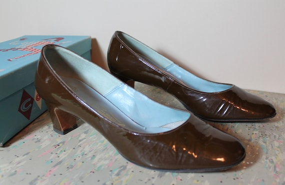 """Vintage Brown Patent Galliano Shoes 1960's 2"""" Heel"""