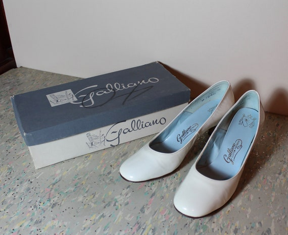 Vintage White Patent Vinyl/Leather Galliano Shoes