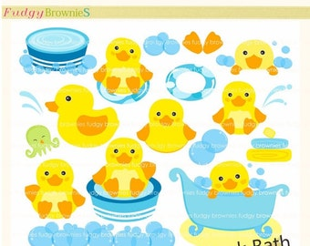 ON SALE Duck Clip Art Bath Toy For Invitesscrapbooking Baby Showerbubble Artcute Yellow INSTANT Download
