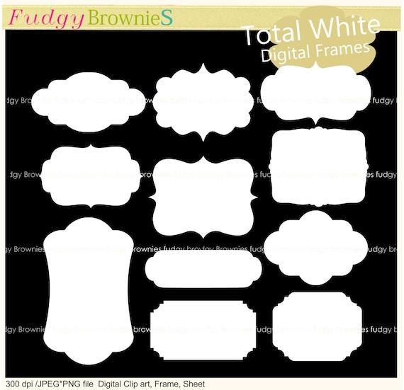 ON SALE white digital frame clip art bracket frames white | Etsy