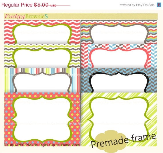 ON SALE Clip art frame premade cards invititation cards | Etsy