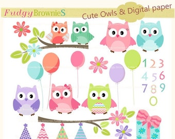 ON SALE Owls clip art,kids birthday clip art,baby owl clip art, invites,cards,scrapbook,chevron,polka dots,INSTANT Download