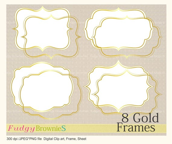 ON SALE Digital Gold FrameGold Bracket Frame Clipart