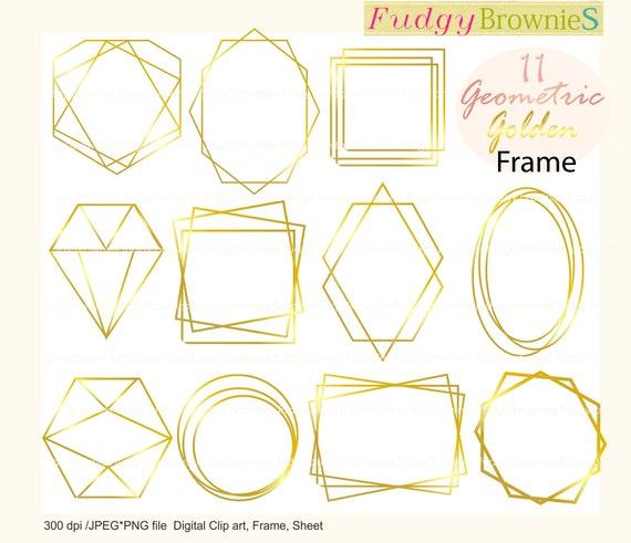 gold wedding frames clipart geometric golden frames