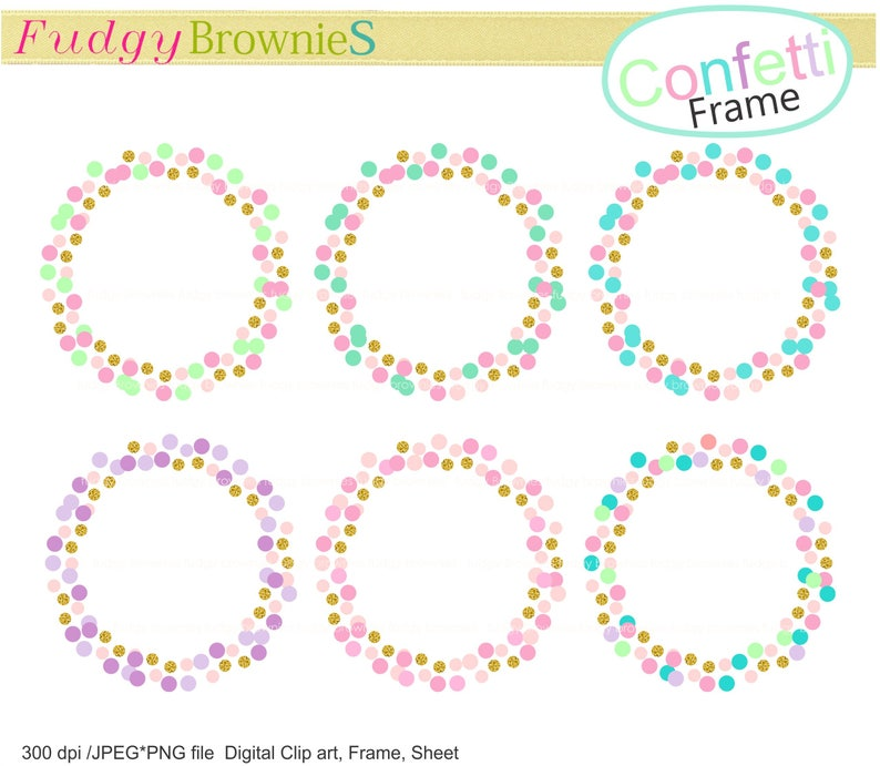 On Sale Confetti Frame Clip Art Circle Baby Shower Frames Etsy