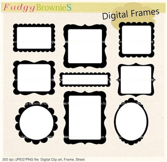 ON SALE black and white scallop frame frames clipart square   Etsy