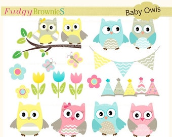 ON SALE Owls clip art,baby invite clip art,baby owl clip art, invites,cards,scrapbook,chevron,polka dots,INSTANT Download