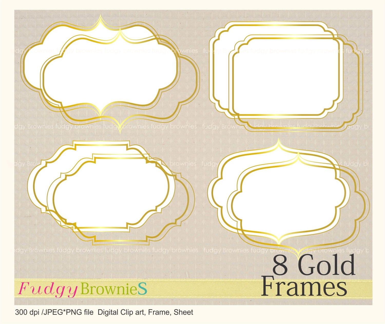 ON SALE gold digital frame clip artGold Foil Label gold Tags   Etsy