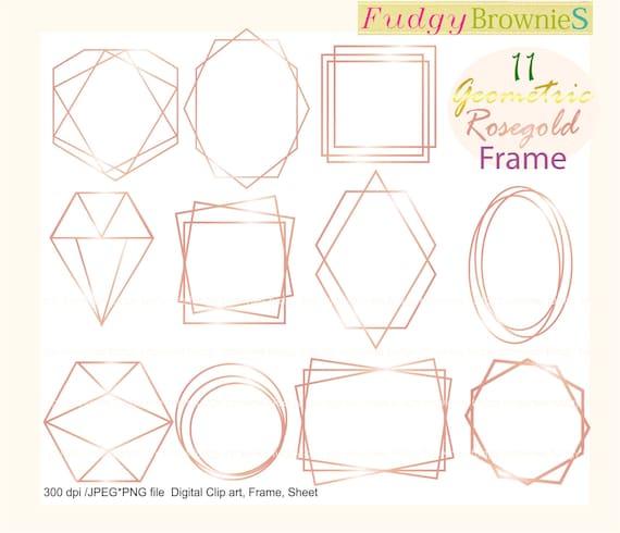 Geometric Frames Clip Art Geometric Rose Gold Frames Etsy