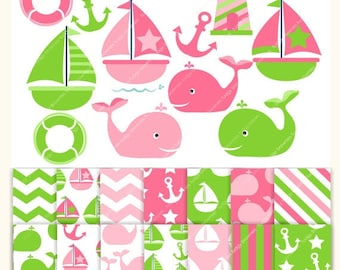 ON SALE Digital Papers and clip art ,Nautical fun MS 06,invites,sail boat,sailing clip art,girl,green and pink,whale clip art , Instant Down