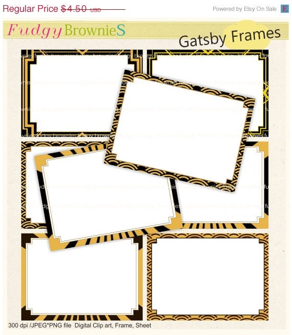ON SALE Digital frame Gatsby style Square Frames clipart   Etsy