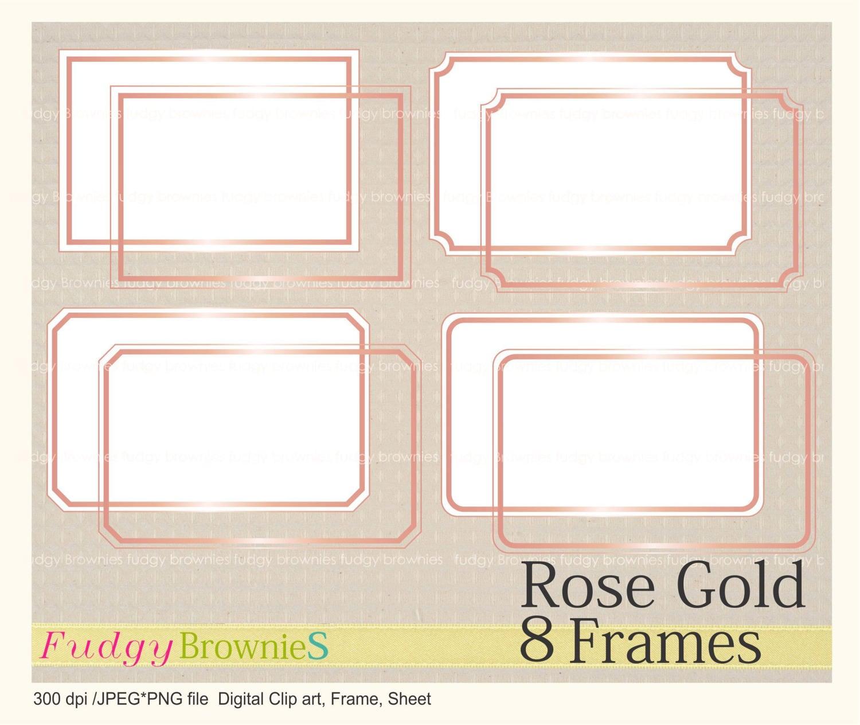 EN venta Digital roseGold marco, rectángulo de línea Marcos clipart ...