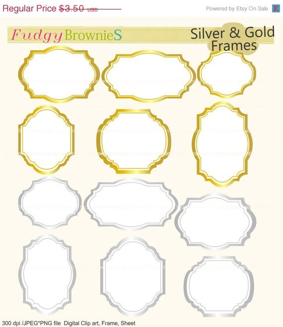 On Sale Silver And Gold Frames Clipartgold Metal Etsy