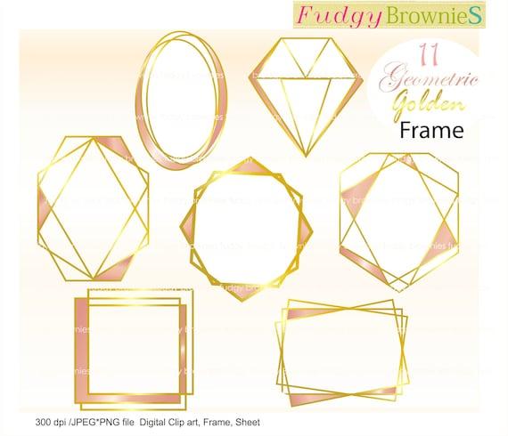 Rosa Oro Cornici Clipart Geometric Golden Cornici Clipart Etsy