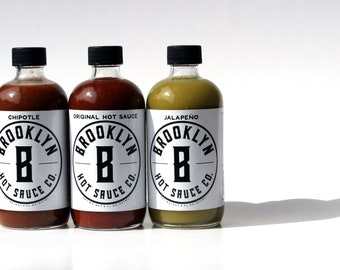 Brooklyn Hot Sauce 2 Pack, Small Batch, Handcrafted, Great gift, Jalapeno, Chipotle, Spicy, Great gift