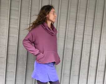 Organic Hoodie Fleece Cowl with Pockets and Thumbholes