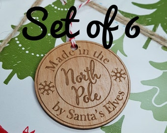 Wood Gift Tags - Made in the North Pole by Santa's Elves - Set of 6