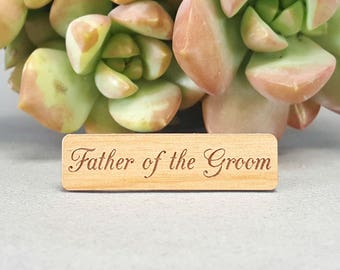 Father of the Groom Tie Bar - Laser Engraved Alder Wood - Wedding Tie Clip