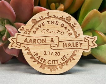 Save the Date Magnets - Custom Engraved Wood Magnets - Rustic Wedding Save the Date Magnets