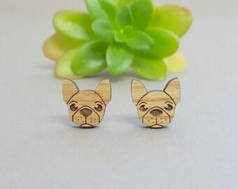 French Bulldog Earrings - Laser Engraved Wood - Titanium Stud Post Earring Pair - Frenchie Dog Earrings