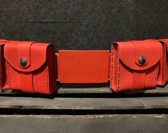 Slim Batman Inspired Leather Utility Belt Red