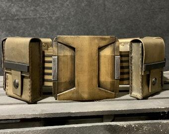 Batman Arkham Asylum Inspired Belt and Pouches Weathered Gold
