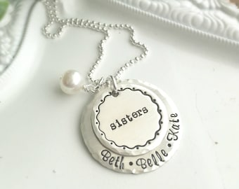 Personalized Sisters Necklace . Sisters Necklace . Personalized Sisters . Custom necklace . Names Necklace . Stamped Jewelry . Shay Designs