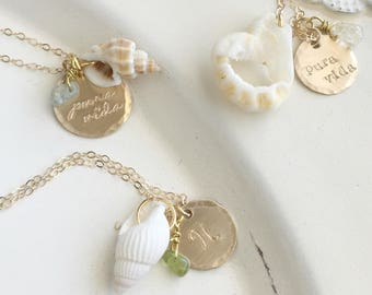 Beach Necklace . Beach Jewelry . Shell Necklace . Pura Vida . Personalized Beach Jewelry . Personalized Necklace . Shell Jewelry .