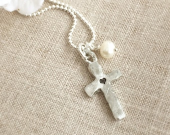Cross Necklace . Faith Jewelry . Religious Jewelry . Heart Necklace . Baptism . Christian . Bible Study Gift