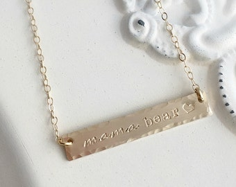 Bar Necklace . Mother Necklace . Mama Bear . Bar Necklace . Gold Bar . mommy jewelry . mothers necklace . mother's day . mothers day gift