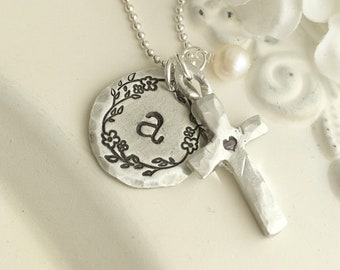 Cross Necklace . Faith Necklace . Initial Necklace . Personalized Necklace . Cross Necklace . Personalized Jewelry . Faith Jewelry