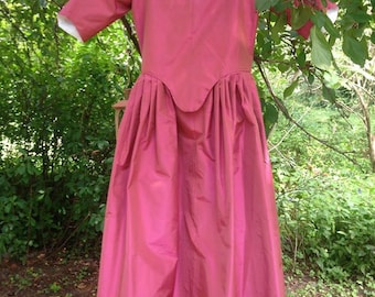 Rose Pink Silk Taffeta 18th Century Style Girls Gown Size 26 - REDUCED