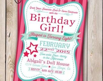 Girl Doll Birthday Invitation Party Customizable 5x7 Printable Girly Store Star