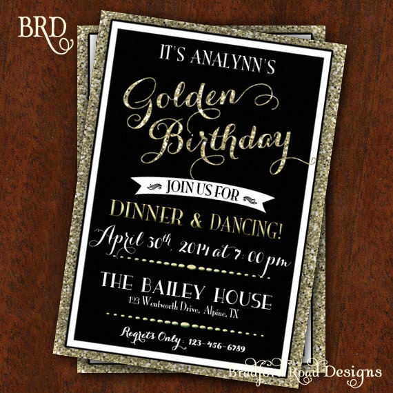 Golden Birthday Party Invitation Gold Black 30th Birthday Etsy