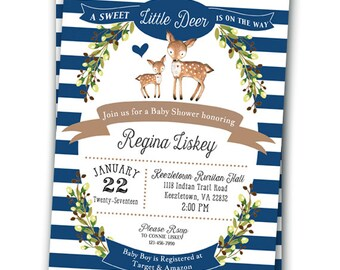Little Deer Baby Shower Invitation Baby Shower Invitation Customizable 5x7 Baby Deer Gender Navy Baby Shower Invitation Woodland Deer