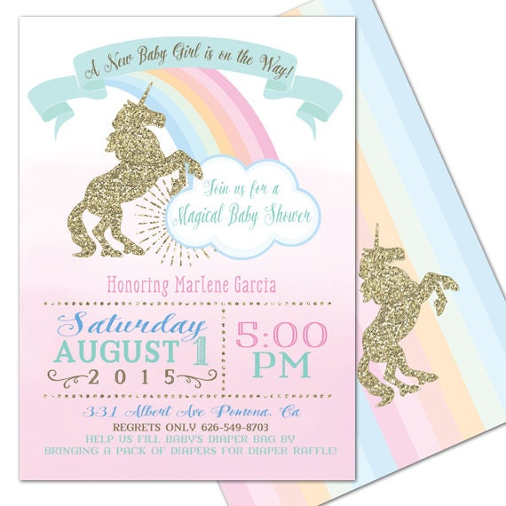Unicorn Baby Shower Magical Party Invitation Unicorn Baby Pastel Gold Customizable 5x7 Printable Rainbow Unicorn Pink Girl Baby Shower