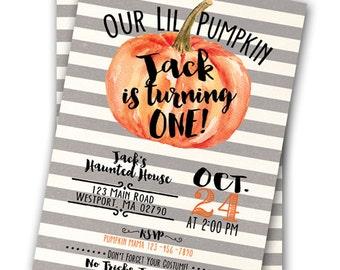 Lil Pumpkin Invitation Little Pumpkin Party Halloween Costume Party Halloween Birthday Party Invitation 5x7 Invitation Pumpkin Party