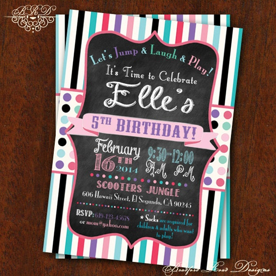 Girly Birthday Party Invitation Jump House Bounce