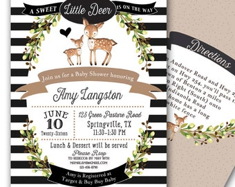 Little Deer Baby Shower Invitation Baby Shower Invitation Customizable 5x7 Baby Deer Gender Neutral Baby Shower Invitation Woodland Deer