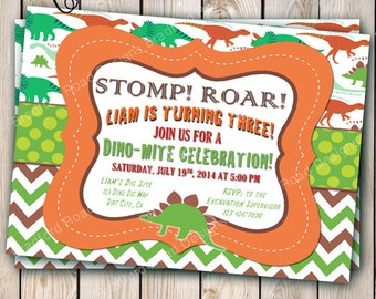 Dinosaur Invitation Dinosaur Birthday Party Dino Dig Dino-mite Birthday Invitation Customizable 5x7