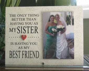 SISTER Frame, Sister Picture Frame, Sister Gift, Sister Photo Frame. 4x6 photo, Saying and Paper Choice, Ceramic Heart with crystal