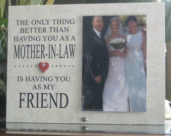 MOTHER IN LAW Mothers's Day Gift, Mother-In-Law Mother's Day Frame, Picture Frame, Photo Frame, 4 x 6 photo, Ceramic Heart with Crystal