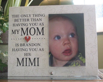 Mimi, Mimi gift (SELECT ANY GRANDMOTHER Name), Mimi picture frame, Mimi Frame, 4x6 photo, Ceramic Heart with Crystal, Mimi