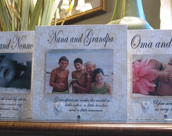 798491e6d Oma and Opa Frame (SELECT ANY GRANDPARENTS' Names), Personalized Picture  Frame, Saying Choices, 4 x 6 Photo, Ceramic Heart with crystal