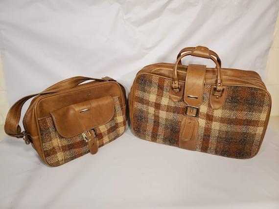 Vintage Invicta Duffle Bag Set Brown Tan Tweed Go… - image 2
