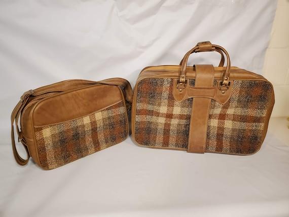 Vintage Invicta Duffle Bag Set Brown Tan Tweed Go… - image 3