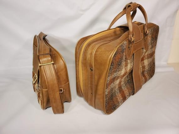 Vintage Invicta Duffle Bag Set Brown Tan Tweed Go… - image 4