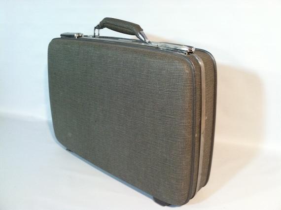 Vintage Grey  Suitcase Case Retro Travel  Luggage