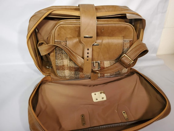 Vintage Invicta Duffle Bag Set Brown Tan Tweed Go… - image 7
